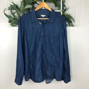 Nordstrom Caslon Blue Chambray Button Up Top